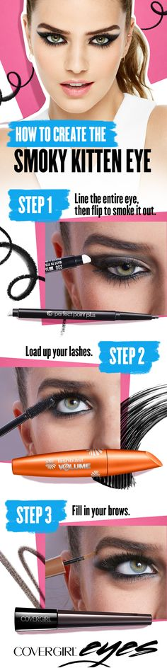 Try our softer, smokier version of the traditional cat eye — Create the perfect kitten eye using these 3 easy steps. Start with COVERGIRL Perfect Point Plus eyeliner and line the lashline and waterline. Smudge with sponge tip to smoke it out. Load up your lashes and create instant volume using COVERGIRL LashBlast Mascara. Then, fill in your brow using COVERGIRL Pow-Der Brow. COVERGIRL is the simple way to Draw Attention to your eyes.