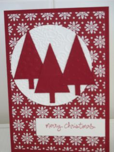 Christmas Card - using Stampin' Up Tree Punch, Perfect Polka Dots, Decorative Dots, Large Polka Dot and Lacy Brocade Embossing Folders, Trim the Tree DSP and Good Greetings Stamp set.