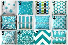 Premier Prints Turquoise Pillow Cover- 14x14 inches- Hidden Zipper Closure- You Choose. $14.95, via Etsy.