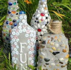 gardening ideas mosaics recycled materials, gardening, repurposing upcycling, Mosaic Bottle Makeovers and coasters and . Old Wine Bottles, Glass Bottles, Recycled Bottles, Bottle Candles, Mosaic Bottles, Unique Garden Decor, Garden Decorations, Diy Garden Fountains, Garden Frogs