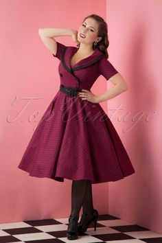 Beautiful @aciddollpinup wearing our 50s Mimi Polkadot Swing Dress in Burgundy by Bunny!