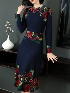 Buy Floral Dresses Midi Dresses For Women from YZL Studio at Stylewe. Online Shopping Stylewe Summer Dresses Long Sleeve Floral Dresses Daytime A-Line Crew Neck Printed Statement Dresses, The Best Daily Midi Dresses. Discover unique designers fashion at s Long Sleeve Floral Dress, Floral Midi Dress, Floral Dresses, Midi Dresses, Wrap Dresses, Blue Dresses, Vintage Dresses, Elegant Dresses, Casual Dresses