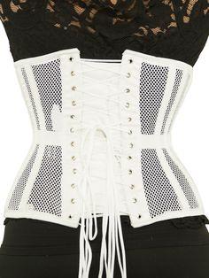 2b925a5abd04c8 CS 426 white mesh corset front Long Torso