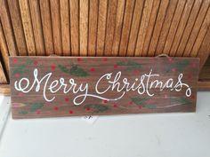 16 Long Wooden Merry Christmas Sign Green Cedar and Berry Design Merry Christmas Sign, Chalk Art, Barn Wood, Berry, Green, Diy, Design, Home Decor, Decoration Home