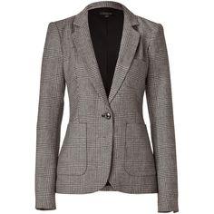 RACHEL ZOE Black/Beige Wool Glen Plaid Charlie Blazer ($605) ❤ liked on Polyvore