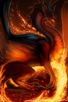 Fire Dragon by magmi on DeviantArt Mythical Creatures Art, Mythological Creatures, Magical Creatures, Fantasy Creatures, Susanoo, Fantasy Art Angels, Cool Dragons, Dragon Artwork, Dragon Pictures