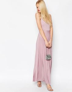 f889585886c53f ASOS Cami Maxi Dress with Pleated Skirt - Shop for women s Dress - Dusty  lilac