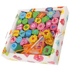 Cute Lovely Educational Kids Numbers Letters Wooden Toy Stringing Beads DSHL