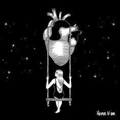 Surreal and Minimalistic Illustrations from Henn Kim Henn Kim is an illustrator from South Korea. Her drawings, always in black and white, evoke themes. Henn Kim, Elastic Heart, Jesus Pictures, Mood Swings, Inner Child, Heart Art, Art Drawings, Illustration Art, Illustrations