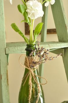 simple sweet vase - love the lavender tucked amidst the twine!