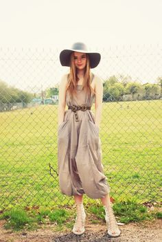 Love this jumpsuit with the floppy hat.
