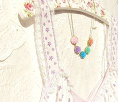 Over The Rainbow  Flower Necklace by NestingPretty on Etsy, $28.00 `  Win this in my blog giveaway http://www.nestingpretty.blogspot.com/