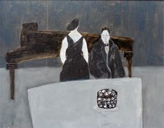 The Pianist's Birthday    -    Gigi Mills  American  Oil, Paper, Crayon and Graphite on paper
