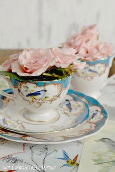 Curiositaellya: Soft Pink Roses + Blue Baroque Bird Tea Set