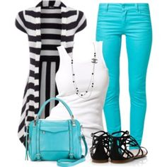 Great look with a pop of color! #Fashion #Style #Clothing