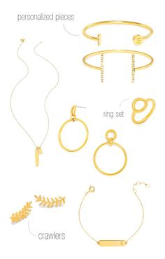 delicate gold jewelry + accessories: ring, bracelet, earrings and pendant necklace