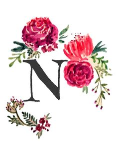 'Floral Monogram Watercolor Letra M' by SaraLoone Monogram Wallpaper, Alphabet Wallpaper, Name Wallpaper, Iphone Wallpaper, Watercolor Lettering, Watercolor Art, Iphone Letters, Letter Art, Monogram Letters