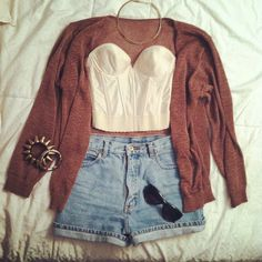 A crop-top paired with high waisted shorts & a thick knit cardigan for summer nights or fall days!