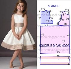 Mod@ en patterns for dress sewing ( Dresses for girls).Dress for a girl of 9 yearsCould do similar with first day dress patternComments on the topic Little Dresses, Little Girl Dresses, Girls Dresses, Sewing For Kids, Baby Sewing, Sewing Clothes, Diy Clothes, Kids Dress Patterns, Dress Anak