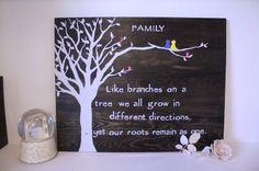 Belle art murale en bois avec la phrase d'inspriational peint à la main. Arbre de la famille et les oiseaux sont peints pour représenter le caractère unique de votre famille. Dans l'exemple, vous pouvez voir que nous avons un petit oiseau bleu qui représente mon beau-fils. Signe sera fait sur commande selon les membres de votre famille. Vous pouvez afficher tout simplement sur une étagère ou demande seasaw crochets ou oeillet avec de la ficelle pour accrocher facilement. J'ai mis un soin…