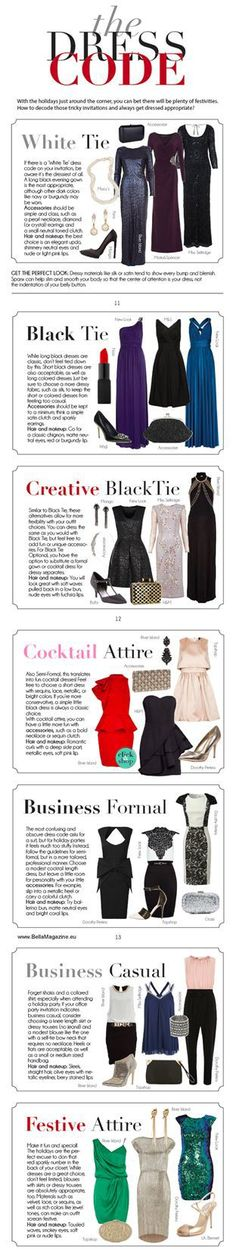 While our Army Ball In Louisiana is always White-Tie formal attire for spouses-I have heard of other units/states having different dress codes. Here is a chart if you are wondering what is acceptable to wear for a particular dress code. Looks Chic, Looks Style, Style Me, Look Fashion, Fashion Beauty, Womens Fashion, Fashion Tips, Mein Style, Inspiration Mode