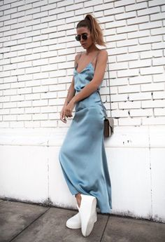 Pair a long colorful silk slip dress with white sneakers for a more casual day look. Let DailyDressMe help you find the perfect outfit for whatever the weather! Slip Dress Outfit, Long Slip Dress, Dress Shirt, Prom Dresses Blue, Satin Dresses, Sneakers Vintage, Sneakers Balenciaga, Look Fashion, Fashion Outfits