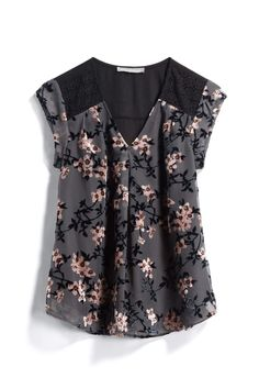 Pretty dark floral and shoulder/lace detail