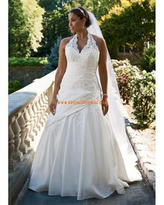 Taffeta Lace Halter Gown with Side Drape