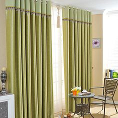 (One Pair) Green Tea Embossed Blackout Curtain  – USD $ 84.99