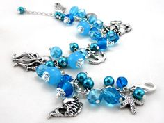 Ocean blue Charm Bracelet  glass pearls by OohlalaBeadtique, $27.00