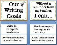 FREE This writing goals bulletin board allows you to post the conventions and grammar goals you have for students. Once it is placed on your bulletin bo. Writing Traits, Writing Goals, Writing Strategies, Kids Writing, Writing Resources, Teaching Writing, Writing Activities, Teaching Ideas, 6 Traits
