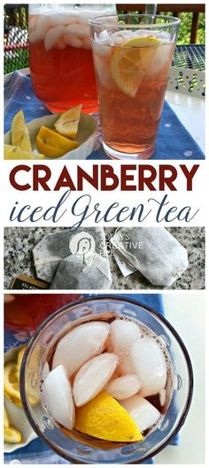 Cranberry Iced Green Tea This ice tea is easy to make from fresh brewed green t. Green Tea Recipes, Iced Tea Recipes, Drink Recipes, Alcohol Recipes, Cocktail Recipes, Green Tea Drinks, Summer Drinks, Green Teas, Refreshing Drinks