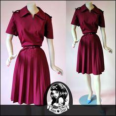 Vintage 1960s MOD GOGO Pleated Burgundy Military Twiggy Carnaby St Dress UK16 - http://www.ebay.co.uk/itm/Vintage-1960s-MOD-GOGO-Pleated-Burgundy-Military-Twiggy-Carnaby-St-Dress-UK16-/371550648299?hash=item568224f7eb:g:NFYAAOSwgyxWU2li
