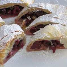 This recipe for Croatian sour cherry strudel -- Fil za Strudlu s Tresnjama ili Visnjama -- uses dark Morello or bright red Montmorency cherries for its distinctive tart flavor. While homemade strudel dough is the best, Cherry Strudel Recipes, Cherry Recipes, Croatian Recipes, Hungarian Recipes, Strudel Dough Recipe, Croatian Cuisine, Sour Cherry, The Best, Pavlova