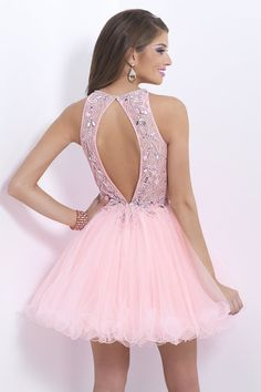 2014 Stunning Halter A Line Short/Mini Prom Dress Tulle With Beaded Lace Bodice Open Back Pink