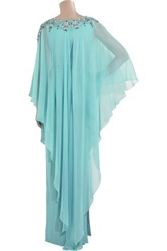 Marchesa | Silk-chiffon embroidered kaftan | NET-A-PORTER.COM