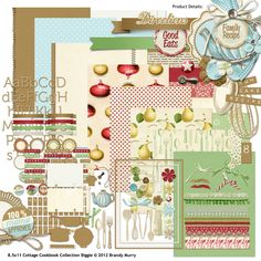 8.5x11 Cottage Cookbook Digital Scrapbooking Collection Biggie - Perfect for a family recipe book - Christmas present maybe?