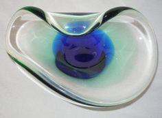 Marvelous MURANO Glass BOWL Essence of MODERN Art MID CENTURY Blue LIGHT Green