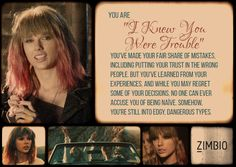 "I took Zimbio's Taylor Swift quiz and my song is ""I Knew You Were Trouble""! What's yours? #ZimbioQuiznull - Quiz"