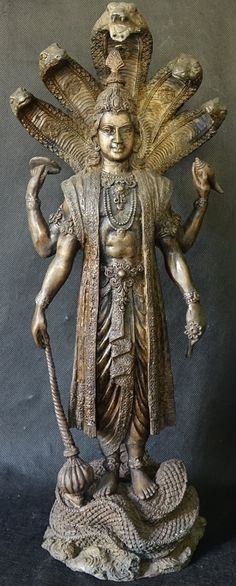 Bronze Statue Hindu God Vishnu standing on Naga
