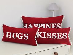 Red Hugs and Kisses Cushions Valentines Sale 15 by JaneHornsby, £93.50