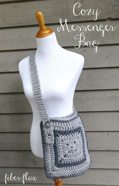 Check out this cozy messenger bag from Fiber Flux! Free crochet pattern calls for 3 balls of Lion Brand Hometown USA and a size N (9 mm) crochet hook. Great for work, back to school, or any time!