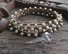 Silver crochet 3x wrap bracelet necklace anklet by slashKnots