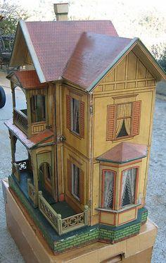 Antique German Gottschalk Red Roof Paper Litho Doll House C1908   eBay