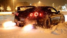 Snow...flame and Nissan GTR nismo