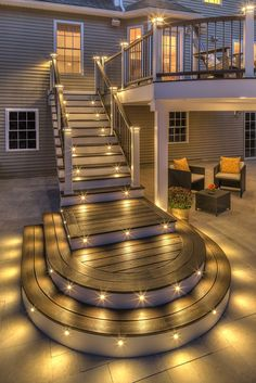 Are you looking for deck lighting ideas to transform your patio or backyard? Discover here how to transform your patio with alluring deck lighting ideas. Deck Design, House Design, Backyard Patio, Patio Decks, Diy Deck, Trex Decking, Outdoor Decking, Patio Stairs, Outdoor Stairs