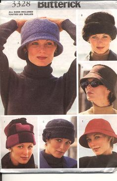 Free Cloche Hat Sewing Pattern | Butterick 3328 Misses Hats Pattern Cloche Caps for Fleece Wool Faux ...