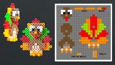 Thanksgiving turkey made out of perler beads. Laceys Crafts is all about sharing super simple and adorable thanksgiving crafts for kids. Perler Bead Designs, 3d Perler Bead, Perler Bead Templates, Melty Bead Patterns, Pearler Bead Patterns, Perler Patterns, Beading Patterns, Hamma Beads 3d, Peler Beads