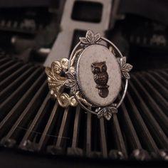 Owl ring. $18.00, via Etsy.