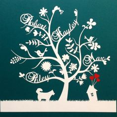 Unique personalised paper cut family tree - 'birds and feathers' design